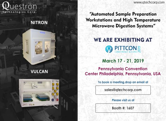 Visit us at PITTCON 2019 #Booth 1607 from March 17 – 21, 2019 at Pennsylvania Convention Center Philadelphia, Pennsylvania, USA